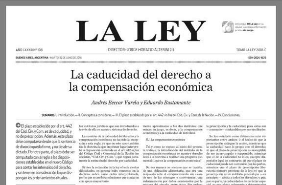 La caducidad del derecho a la compensación económica